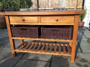 Solid Oak Sideboard With 2 Drawers, Shelves & Baskets Ex Quality