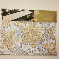 "Jaclyn Smith Table runner 13x72"" Snowflake Christmas Holiday Gold/Silver/White"