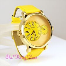 Designer Gold Yellow Leather Dual Time 2 Twin Zone Double Dial Big Sunray Watch