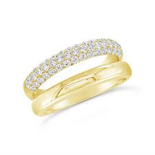 0.77 Ct 14K Oro Amarillo Natural Pavé Diamante Liso Doble Banda Aro Ring