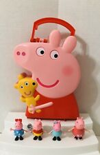 Peppa Pig Storage Carry Case and 4 Figures Lot Toy