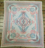 "Antique Orr? 1920s Wool Blanket 72x 62"" Stitched Reversable Pink Flower Art Deco"