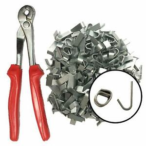 Forrest® Large J-Clip plier + 300 clips wire mesh gabion fencing dog cage repair