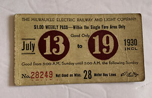 1930 The  Milwaukee Electric Railway & Light Comp. Weekly Transit Ticket Pass 28