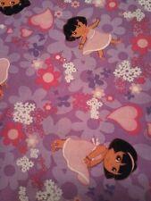 Dora the Explorer  Cotton Fabric by the  yard  purple flower 20009
