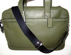 Coach Surplus Green Genuine Leather Hudson Briefcase Bag  F71561 New NWT $450
