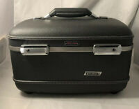 VTG 60's American Tourister Tri Taper Makeup Case Gray Hard Luggage No Key