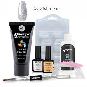 Glitter Poly Gel Kit Nail Extension Builder Acrylic UV Gel 6W LED  Lamp 7pcs/Set