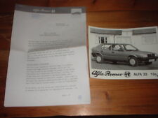 ALFA ROMEO 33 PRESS RELEASE AND PRESS PHOTO 1986