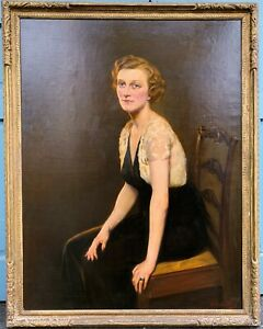 ROLAND HINTON PERRY Large 20th c. American Painting PORTRAIT OF A LADY 1939
