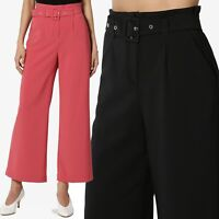 TheMogan 80s Belted High Waist Fluid Wide Cropped Leg Trouser Pants Culottes