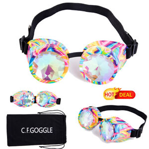 Colorful Goggles Rainbow Crystal Lens Steampunk Sunglasses Summer Rave Party LZ