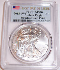 2018-(W) $1 PCGS MS70 FDI First Day of Issue Flag Silver American Eagle FDoI