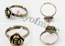 Quality Antique Bronze Copper Rose Retro Funky Kitsch Ring Size Adjustable