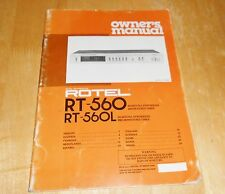 Rotel RT 560 and 560L owner's manual