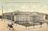 U.S. Treasury, Washington Monument In Distance. Washington DC. Vintage Postcard.