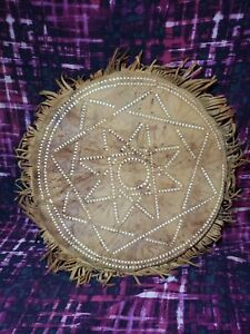 Handmade Leather Indian Pillow Seat Cushion Or decorative Piece. Real Leather.