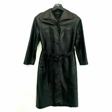 Leathercraft Press Black LEATHER Trenchcoat Womens L Large Lined Button Front