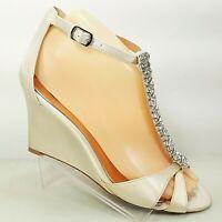 Badgley Mischka Womens Rhinestone Encrusted Wedge Shoe Platinum Satin Size 7 US