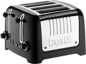 Dualit 4 Slice Lite Toaster Extra Wide Slots Bagel Stainless Steel Defrost Black