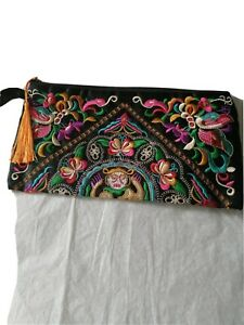 Hand Embroidered multi coloured Clutch Bag