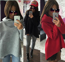Womens Winter Long Sleeve Pullover Hoodie Jacket Loose Sweater Coat Jumper Top D