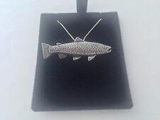F44 Brown Trout  on a 925 sterling silver Necklace Handmade 18 inch chain