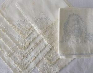 "Antique Set of 10 Linen 12"" Cutwork Napkins + Eyelet Lace Embroidered Tea Towel"
