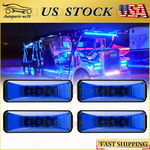 """4x Blue 3.9"""" LED Utility Strip Clearence Marker Light for Truck Trailer RV Lorry"""