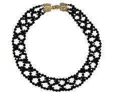 """VTG 1920s ART DECO FACETED JET BEAD 5 LAYER COLLAR CHOKER 15"""" COCKTAIL Necklace"""