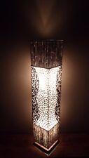 Insolite fait main blanc Shell & Bambou tranche Boîte Lampe Ethnique Bali Lampe 100 Cm