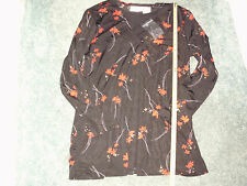 CHRISTIE & JILL WOMEN'S BLACK AND RED FLORAL MOCK  LAYER STYLE TOP -SIZE MEDIUM