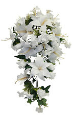 WHITE Roses Lilies Cascade Bridal Bouquet  Silk Wedding Flowers Arch Decorations