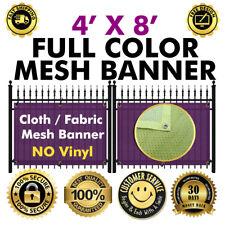 "CUSTOM FABRIC/CLOTH MESH FENCE 48"" X 96"" BANNER SIGN FLAG 260 GSM (NO VINYL)"