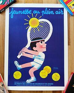 Original Vintage Poster Jeunesse Au Plein Air TENNIS BOY 1983 on Linen