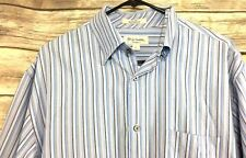 John W Nordstrom Mens L Shirt Tailored Fit Striped Blue White Gray Button Down