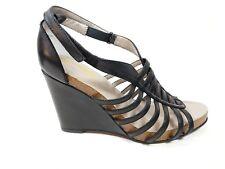 Me Too black leather wedge heel sandals uk 6 worn once