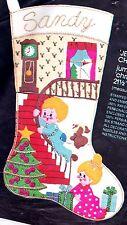 Jumbo Vintage Christmas Morn Girl Boy Stairs Gift Felt Stocking Kit Bucilla 3569