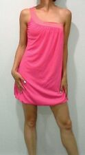 New Womens Pink Coral One Shoulder Dress