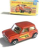 Matchbox Superfast No 29 Racing Mini LIGHT Bronze Orange MIB RARE Box & Car