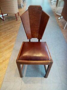 Antique Art Deco Fan shaped back oak wooden chair with leatherette seat c. 1910