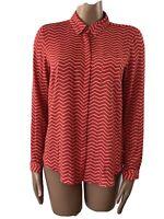 M&S Red Zig Zag Print Bright Blouse Shirt UK 12