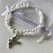 New Peace Dove Charm Bracelet ~ Gift Idea ~ Charm, Stretchy ~ White Clear Beads