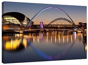 Tyne Bridges Sunset Newcastle Landscape Picture Canvas Wall Art Print