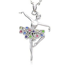 Ballerina Ballet Dancer Dancing Girl Colorful Tutu Pendant Necklace Jewelry