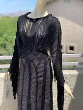 Herve Leger Fringe Dress in Black Size Small