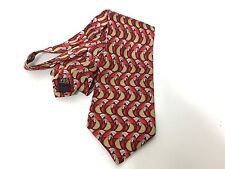 Richel Royal Mens Red Gold Feather Pattern  Silk Tie