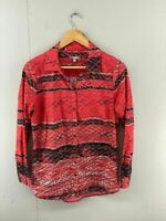Yarra Trail Womens Red Black White Long Sleeve Collared Blouse Shirt Top Size 10