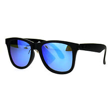 Mens Black Plastic Reflective Color Mirror Kush Horned Rim Hipster Sunglasses