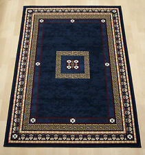 Cheap Budget Blue Navy Border Medallion Oriental chinese large Rug 160x230 cm